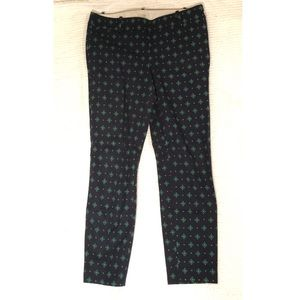 J. Crew Black Ankle Pants with Green Medallions